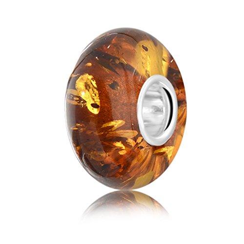 Andante, Collezione premium, perla o ciondolo per collana di ambra baltica autentica, in argento Sterling 925, certificata, oro del mare, color cognac, 8mm x 14mm