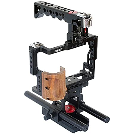 Filmcity Top Handle Camera Cage with Ball Head + Rod Adapter for Compatible with Sony a7R II, a7S II & a7 II (FC-A7RS-C)