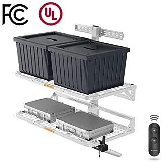 FLEXIMOUNTS HandyJack Motorized Lift Storage Wall Shelves Remote Control, Electric Height Adjustable Garage Storage Racks (White)