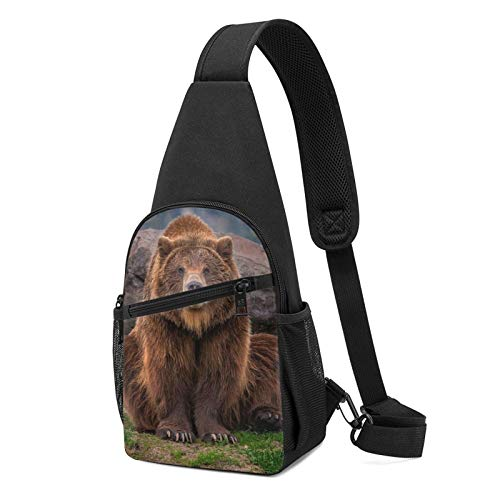 794 Grizzly Bear Sling Bag Chest Shoulder Backpack Crossbody Bags for Men Women Black