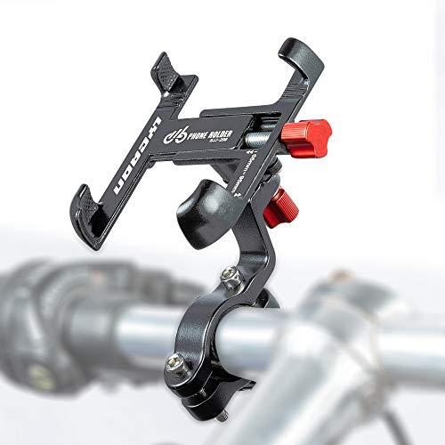 LYCAON Soporte Móvil Bicicleta, Rotación de 360 ° Ajustable, Soporte para Teléfono Móvil de Bicicleta para Teléfono Inteligente de 2,17'-3,74' para Scooter Eléctrico/Motocicleta (Titanio)