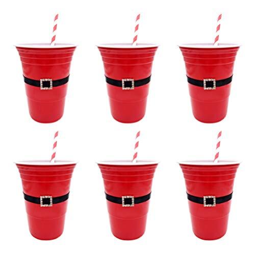 Amosfun - Juego de 12 vasos de plástico con pajitas desechables para Navidad, decoración de fiestas