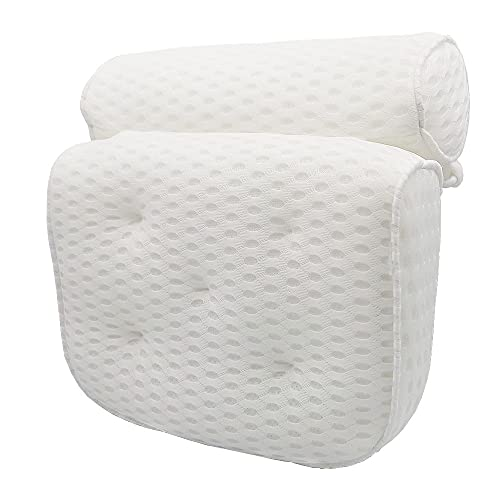 Bath Pillow, VICSOME Ergonomic Bathtub Cushion for Neck, Shoulder, Head and Back Support, 4D Air Mesh Spa Pillow with 7 Non-slip Suction Cups, Soft and Quick Dry Bathtub Pillow