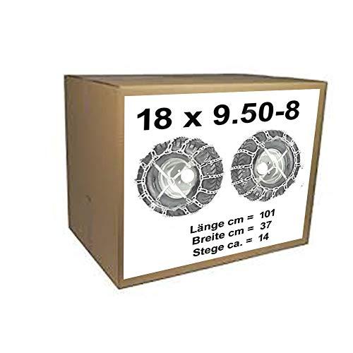 18x9.50-8 Schneeketten + Spanner für Rasentraktor Aufsitzmäher 18 x 9.50-8