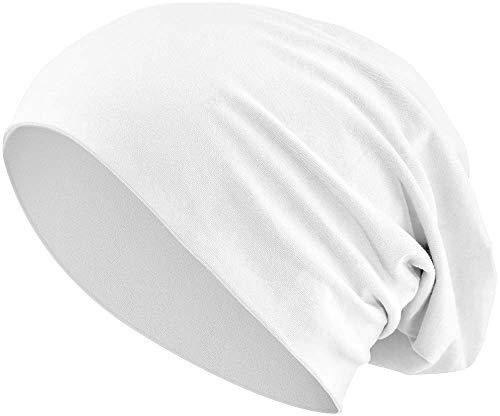 Berretto Elastico e Lungo in Stile Slouch | Jersey e Cotone| Unisex | Heather in 35 Colori Diversi (3) (White)