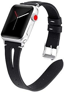 Deri Apple Watch ile uyumlu Bant-Kordon-Kayış, 40mm 38mm 44mm 42mm için Uyumlu, İnce Zarif Kayış, Kadınlar için iWatch Serisi 4,3,2,1 için Kullanılabilir Yedek Bantlar (42mm-44mm, Kum Beji)