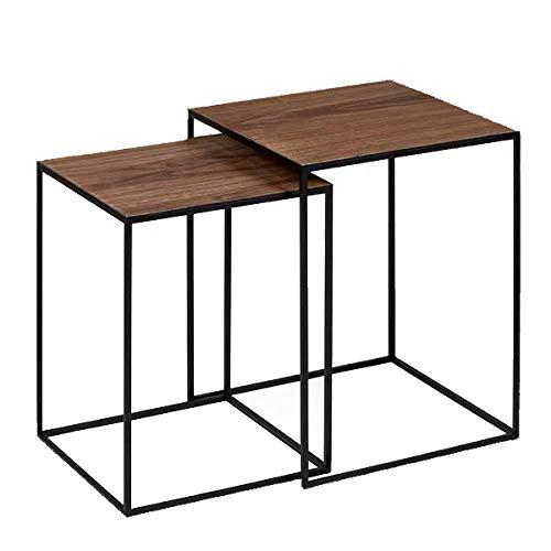Lambert - Sayo - Beistelltisch, Couchtisch - mit edlem Walnußfurnier - Maße Tisch 1 (LxBxH): 35,5 x 35,5 x 47,5 cm - Maße Tisch 2 (LxBxH): 40,5 x 40,5 x 52 cm - 2er Set