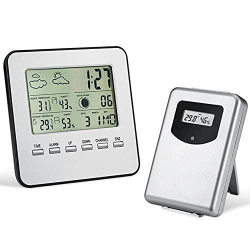 EastMetal Estación Meteorológica con Wireless Sensors, Weather Station Digital LCD, Monitor Interior Exterior con Temperatura/Humedad/Pronóstico/Reloj Despertador, para Jardín Dormitorio Casa