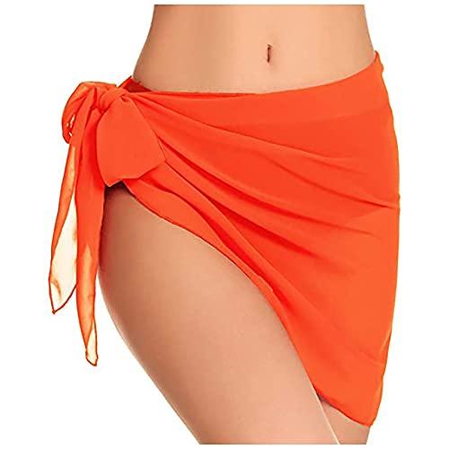 Falda de traje de baño cubrir bikini envuelve pareos de gasa para la playa Soild Color gasa bufanda traje de baño cubre ups