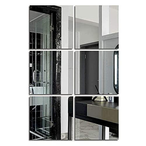 6 Pezzi Specchio da Parete Quadrato Autoadesivo Specchio Murale Decorazioni Non Vetro Specchi Specchio Adesivi da Parete Decorazioni Parete per Armadio Soggiorno Camera da Letto (Argento 20 x 20cm)
