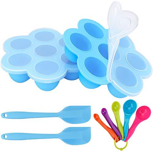 Zwini Silikon Babynahrung Behälter 2er Silikon Baby Food Gefrierschrank Tray 7 Fächer Babynahrung Einfrieren behälter für Muttermilch, Kräuter, Soßen, Whisky, Eiswürfel
