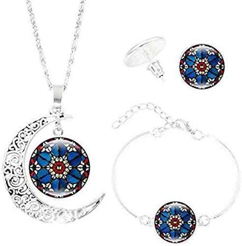 CAISHENY Collar con Colgante de Mandala con Gema de Tiempo en Forma de Luna, Conjuntos de Pendientes de Pulsera, Conjuntos de joyería Vintage de Yoga para Mujeres y Hombres, Regalos