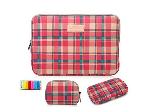 Haodong Moda Enrejado portátil Liner Bolsa 12/13.3/14 / 15.6 Pulgadas Tableta computadora Bolsa Hombres y Mujeres Dell-10 Pulgadas_Tela Escocesa roja + Bolsa de ratón + Paquete de energía + Corbata