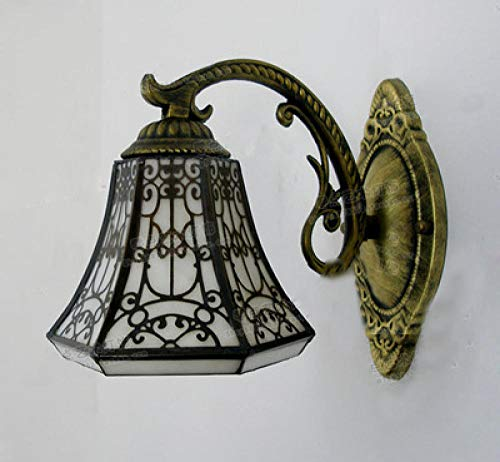 Wandlamp, vintage, rustieke Tiffany, barok, glasverf ijzer, zeemeermin E27 LED-wandlamp, verlichting, wandlamp voor 's nachts thuis