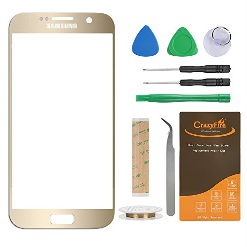 CrazyFire Compatible Samsung Galaxy S7 G930 Gold Front Outer Lens Glass Screen Replacement,Touch Screen Glass Lens Replacement for Samsung Galaxy S7 G930