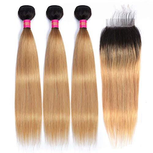 FEEL ME 1b/27 Ombre Blonde Brazilian Straight Hair Bundles with Closure Unprocessed Brazilian Virgin Hair Weave Extension Ombre Human Hair 3 Bundles with Closure (20 22 24+18)