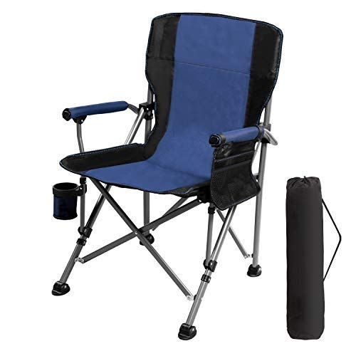 RedSwing Folding Camping Chairs for Adults 330lbs, Portable Heavy Duty Camp Chair for Outdoor Backpacking Hunting Fishing Sports, Comfortable with Backrest and Arms, Blue