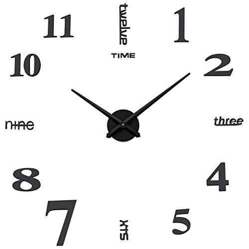 Coraltree Mute DIY Reloj de Pared con Adhesivo 3D, Sin Marco, Tamaño Grande, para Decorar La Oficina o Casa,Plateado-2 Años de Garantía (Negro)