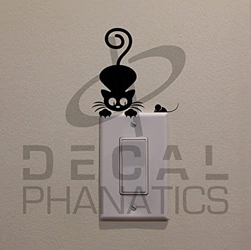 Ratón de observación de gatos en el interruptor de luz (8,2 x 8,9 cm) – calcomanía para decoración de dormitorio/hogar