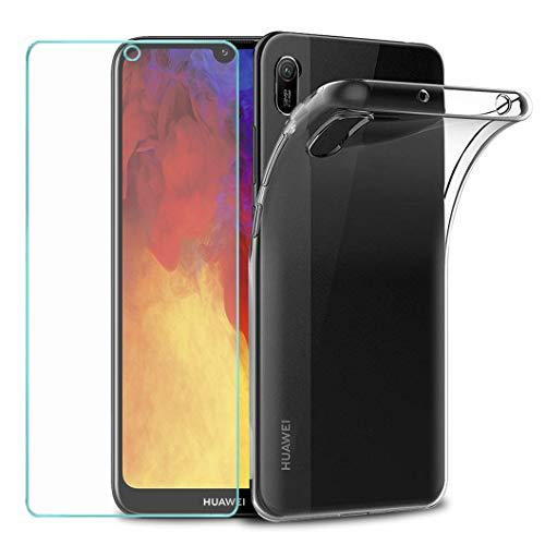 Wanxideng - Funda para Huawei Y6 2019 / Y6s + Protectores de Pantalla in Cristal Templado, Carcasa Suave Delgado Claro Funda de Silicona TPU - Transparente