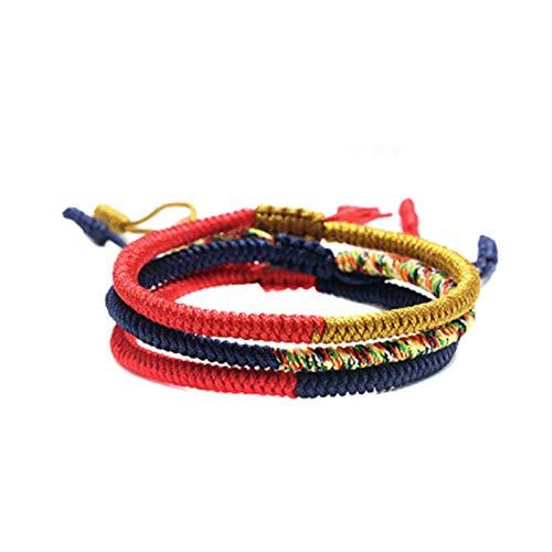 GoodchanceUK - Pulsera trenzada con nudo de diamante, 3 unidades, ajustable, de tejido tibetano, para hombre y mujer