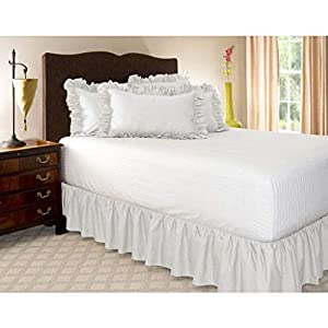 Pliegues de cama elásticos alrededor de la falda de la cama, volantes de polvo plisado Cubre Canapé Medidas canapé Faldón de volantes con banda Cubre unda de somier Colcha-Blanco-COMPLETO:135*200Cm