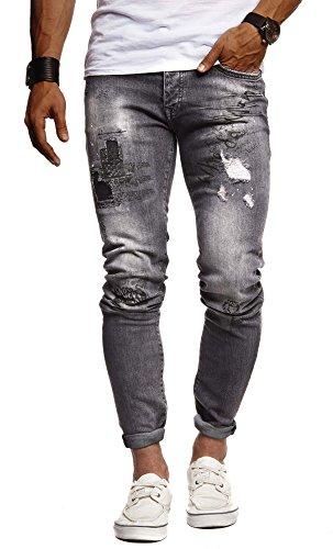 Leif Nelson Herren Jeans Hose Slim Fit Denim Blaue graue Lange Jeanshose für Männer Coole Jungen weiße Stretch Freizeithose Schwarze Cargo Chino Sommer Winter Basic LN9315 Schwarz W30/L32