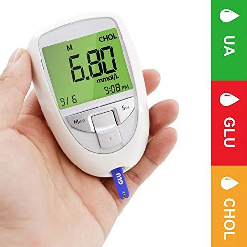 fall Blutzuckermessgerät, 3 in 1 Blutzucker & UricAcid & CholesterolMeter Haushalt Glucometer Kit Diabetes Gout Tester Monitor-Gerät und Teststreifen
