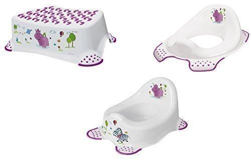 OKT Kids - Set di accessori da bagno per bambini: vasino, rialzo per WC e sgabello, motivo ippopotamo, colore: Bianco