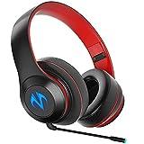 ML S HJDY Casque Gaming Bluetooth,Écouteurs sans Fil Over Ear avec Deux Microphones Et Lampes Respiratoires Convient pour La Musique De Jeux,Black Red