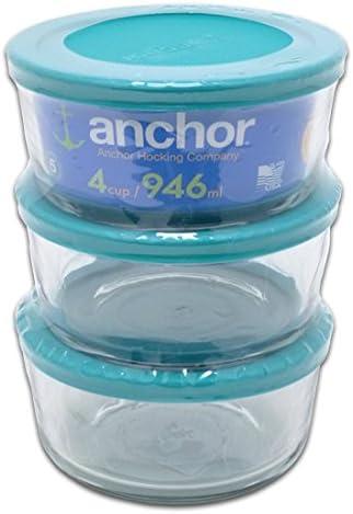 Anchor Hocking 6 Piece 4 Cup Round Glass Storage Set, Teal