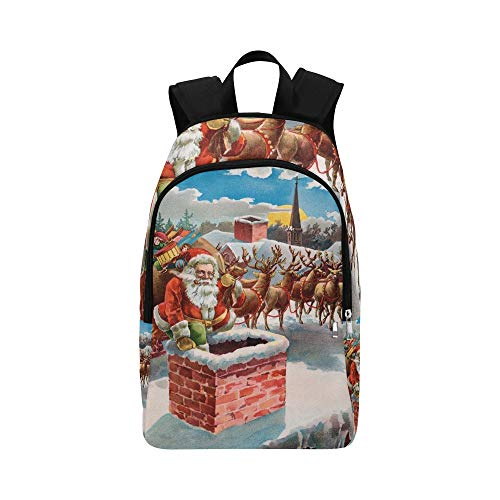 Santa Reindeer Sleigh On Roof Top Casual Daypack Travel Bag College School Backpack for Mens and Women