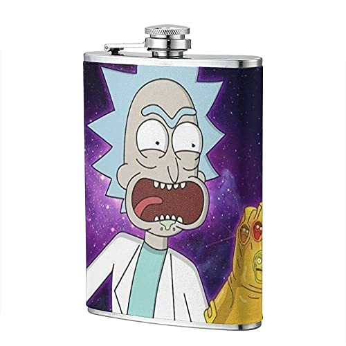 Thanos Infinity Gauntlet Rick Morty Cartoon Flagon 8 OZ Leather Fashion Stainless Steel Portable Leakproof Travel Camping Gift Men Women