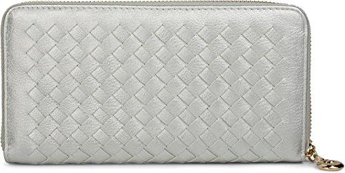 styleBREAKER Geldbörse in Flechtoptik, umlaufender Reißverschluss, Portemonnaie, Damen 02040088, Farbe::Silber