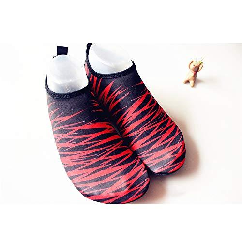 Hancoc Zapatos de playa Negro + rojo Hombres y mujeres Zapatos de playa ultraligeros Zapatos de esnórquel Zapatos de buceo antideslizantes Zapatos de natación antideslizantes Pies descalzos Zapatos su