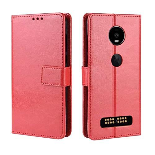Xingyue Aile Hoezen & Hoezen Voor Motorola MOTO Z4 / Z4 Play, Met Naam Kaart, Met De Magneet Flip, Met Ondersteuning Functie, Met Stitching, Met Smart Functie, Schokbestendige Bescherming Hoesje Cover, Rood
