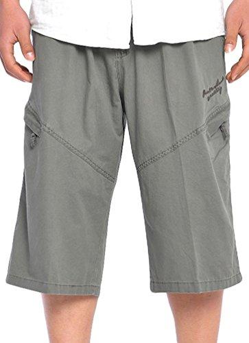 Heheja Pantaloncini da Uomo 3/4 Bermuda Cargo Shorts Militari Pantaloni Tasconi con Elastico in Vita Esercito Verde 6XL