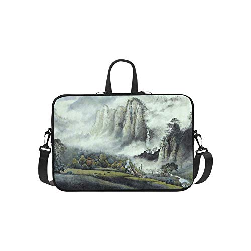 15.6″Lightweight Laptop Notebook Shoulder Backpack Bag Chinese Landscape Mist Waterfall High Mountains Waterproof PC Briefcase Messenger with Strap