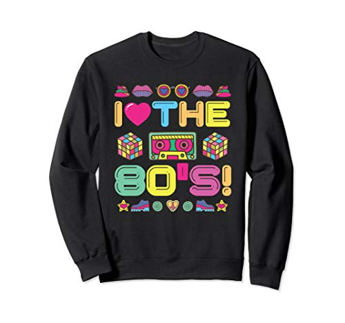 I Love The 80s Sweatshirt with Cassette and Rubik's Cubes, Unisex, S to XXL