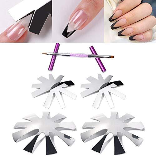Cortador de uñas en forma de V de 4 piezas, 9 tamaños, herramienta de línea de sonrisa, cortador francés de almendra profunda para uñas de estilo francés, viene con 1 bolígrafo artístico de 2 extremos
