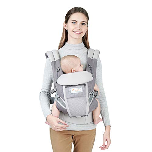 Baby Carrier, 360 All Carry Positions Soft Infant Carrier Front and Back with Hood and Neck Support, One Size Fit All Season Perfect to Hiking Shopping Travel, Grey