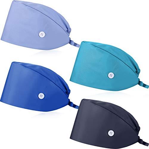 4 Piezas de Gorras en Forma de Calabaza con Botón Bandas de Sudor Ajustables Gorras Bouffant Gorras de Cubierta de Pelo de Corbata