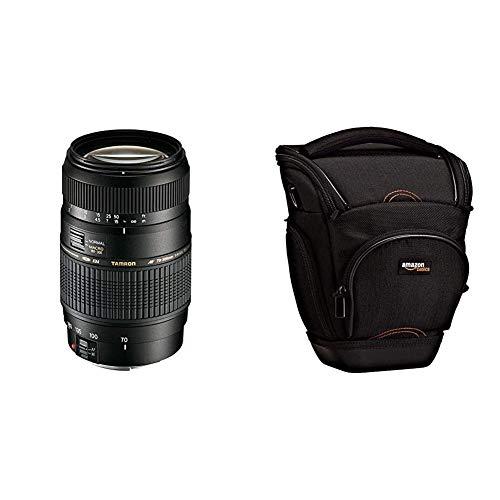 Tamron A17E - Objetivo para Canon (70-300 mm, f/4-5.6, Macro, AF, 62 mm), Color Negro + AmazonBasics - Funda para cámara de Fotos réflex, Color Negro