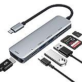 USB C ハブ 6-in-1 USB Type C ハブ ウルトラスリム USB C MacBook MacBook Pro/Air/ChromeBook/Surface GO/Pro7等対応 ドッキングステーション 4K HDMI出力 PD 充電対応 USB3.0 ハブ SD/Micro SD カードリーダー マイクロ タイプC HDMI 変換 アダプタ (Gray)