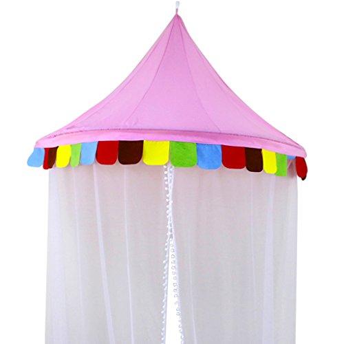F Fityle Kinderzimmer Baldachin, Kinder Bett Betthimmel Moskitonetz Spiel Zelt Gut für Baby Ankleidezimmer Innen im Freienspiel Schlafzimmer - M - Pink