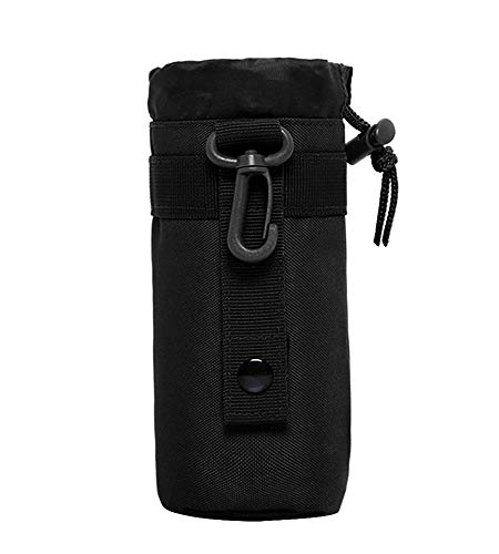 Huntvp Tactical Military Molle Water Bottle Pouch 900D Nylon Kettle Bag Holder Black-550ml