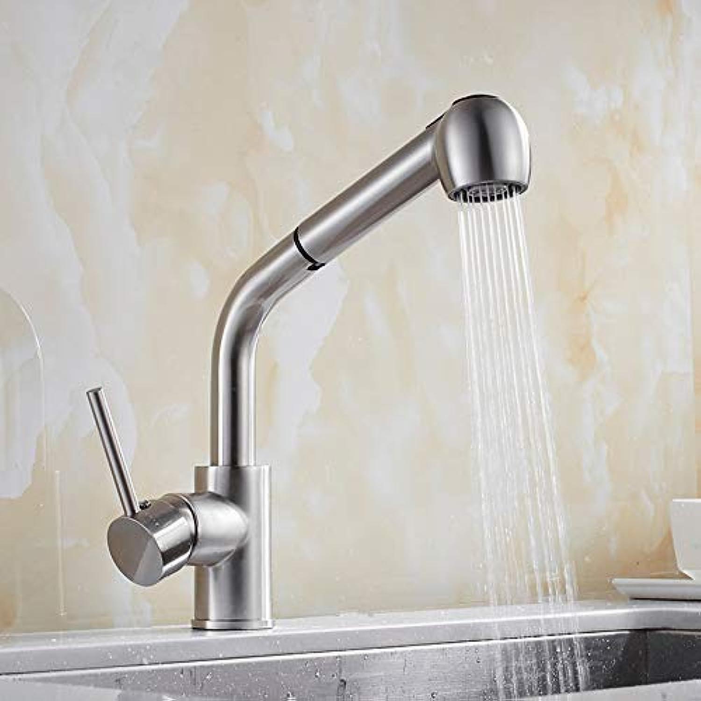 Lddpl Wasserhahn Küchenarmatur Nickel Gebürstet Herausziehen Messing Küchenarmatur Einhand-Spüle Mischbatterie Hei Kalt Deck Montiert Küchenwasserhahn