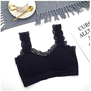 BERYLSHOP Encaje de Rosca Chaleco Ropa Interior Hada Encaje Belleza Volver Chica Deportes Envuelto Pecho Suave y Sexy (Color : Negro)