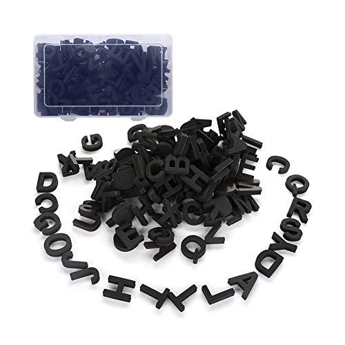 Doolland 124-teiliges Kühlschrank-Magnetbuchstaben Geschenkset Alphabet Magnete mit Tragekiste - Schwarz