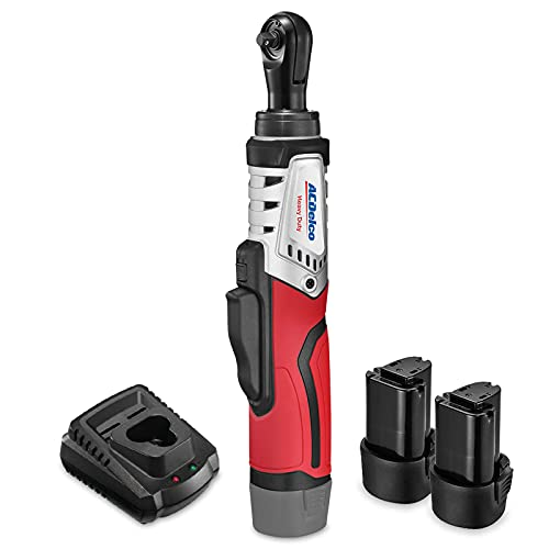 ACDelco Brushless 1/4-Inch Ratchet Wrench Li-Ion 12V Cordless, 45 Ft-lbs Max Ratchet Wrench Tool Kit, 2 Battery & Charger Included, G12 Series, ARW1210-22